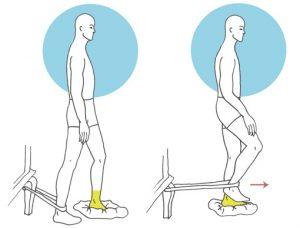 Ejercicio de rehabilitación de pie y tobillo con apoyo de pie en cojín con desequilibrios y resistencias